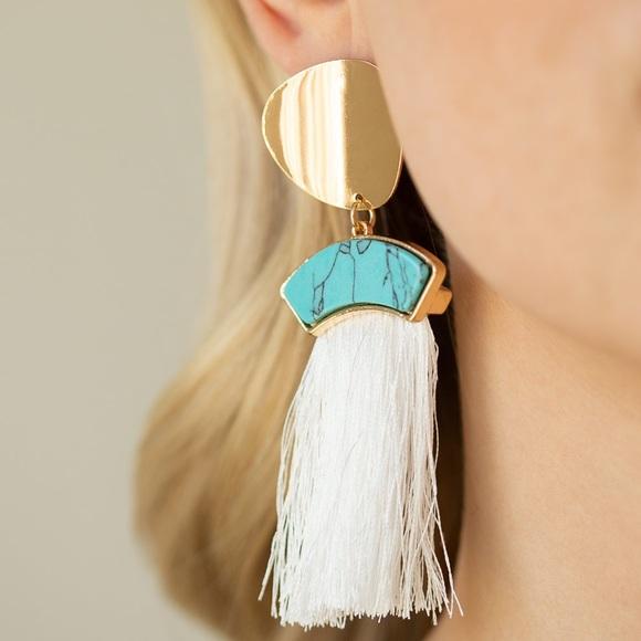 Insta Inc Gold White Fringe Earrings